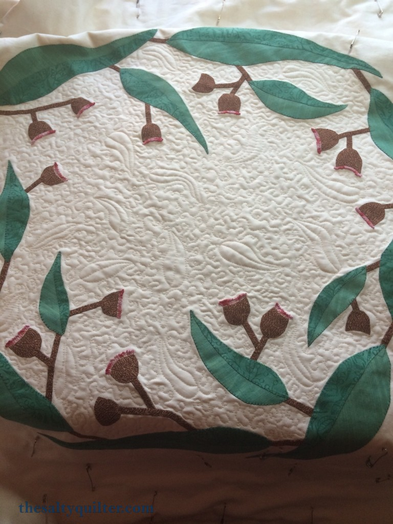 The Salty Quilter - I still Call Australia Home - Gum leaf quilting