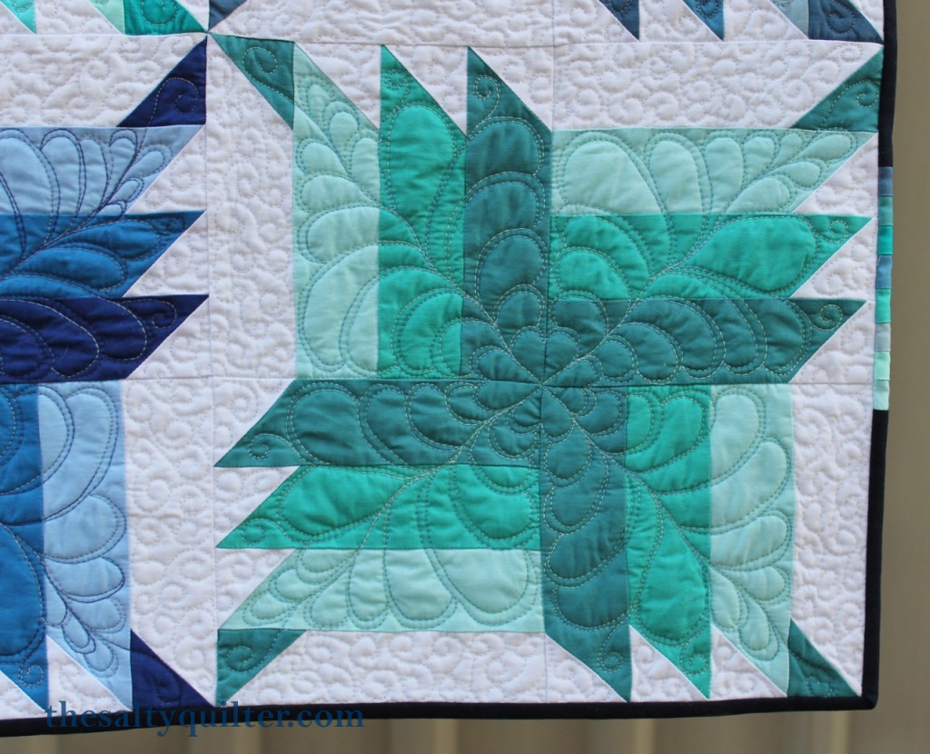 The Salty Quilter - Blue Steel - Finished block close up