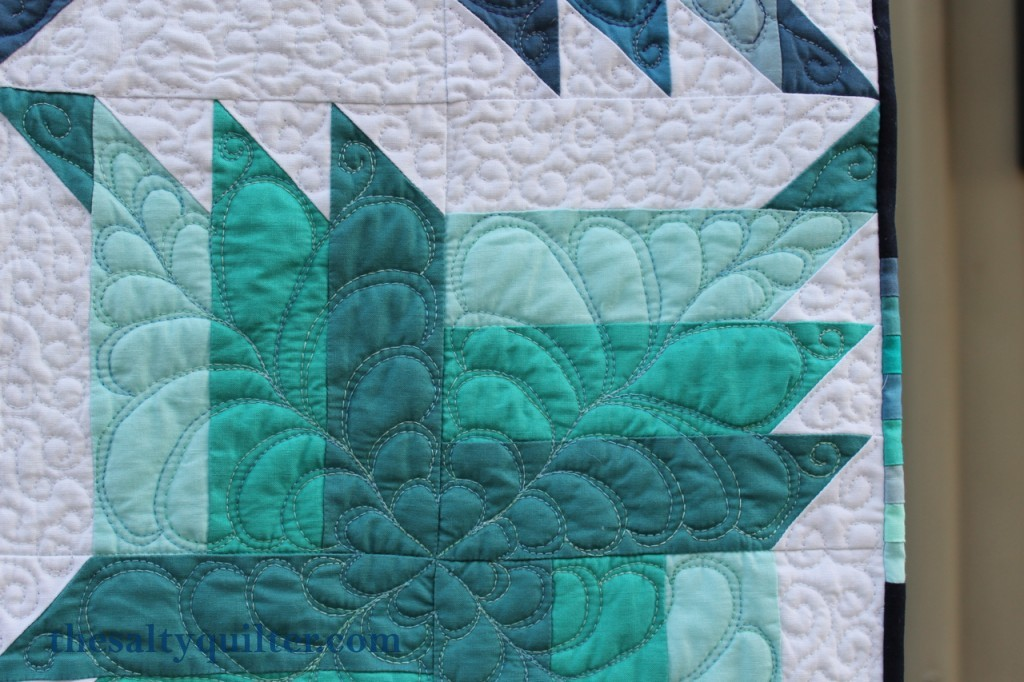 The Salty Quilter - Blue Steel - Finished quilting close up