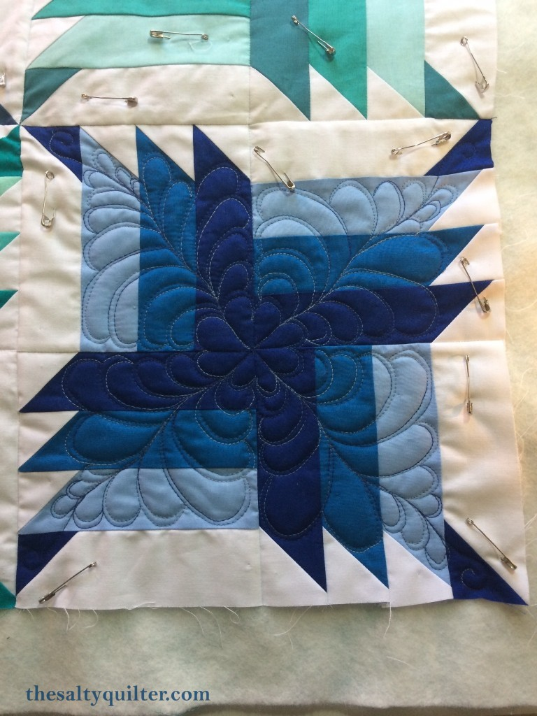 The Salty Quilter - Blue Steel - Feather quilting