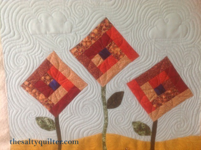 The Salty Quliter - Fall Flowers - Sky quilting