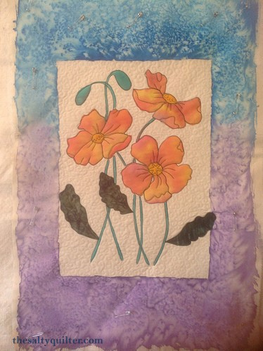 The Salty Quilter - Painted Poppies - in progress