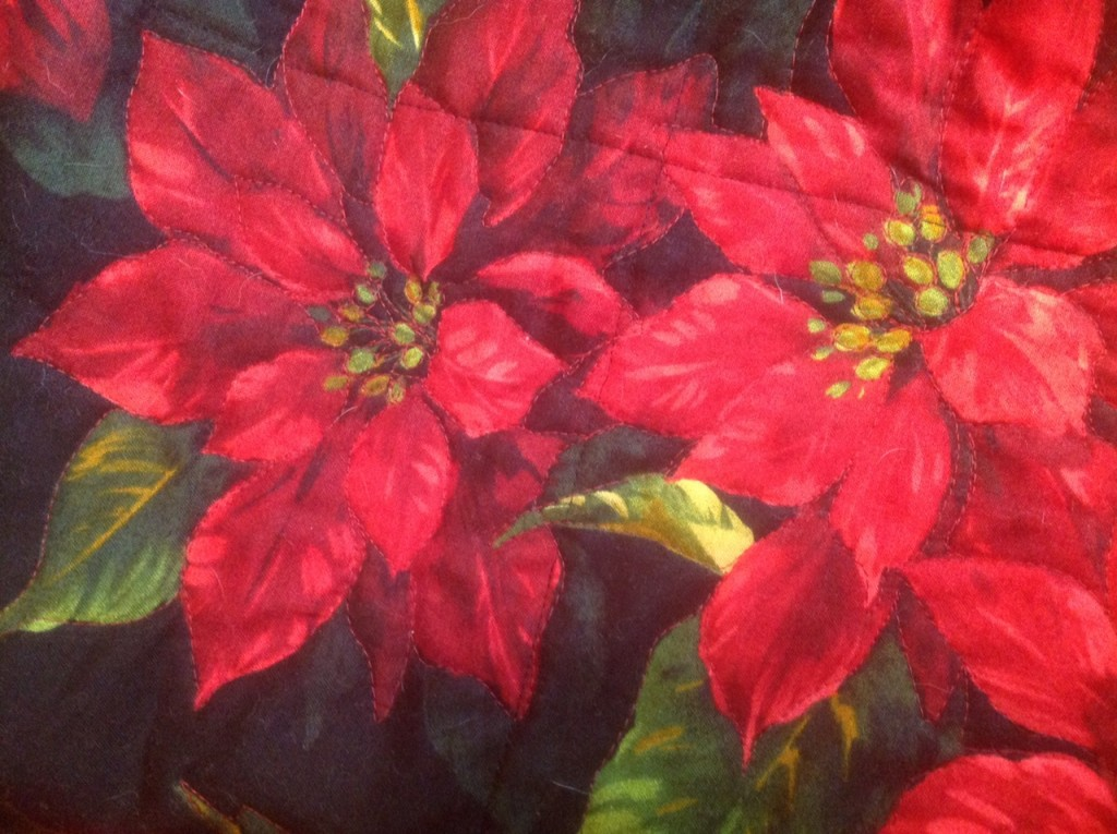 The Salty Quilter - Poinsettia Quilt - Quilting from back