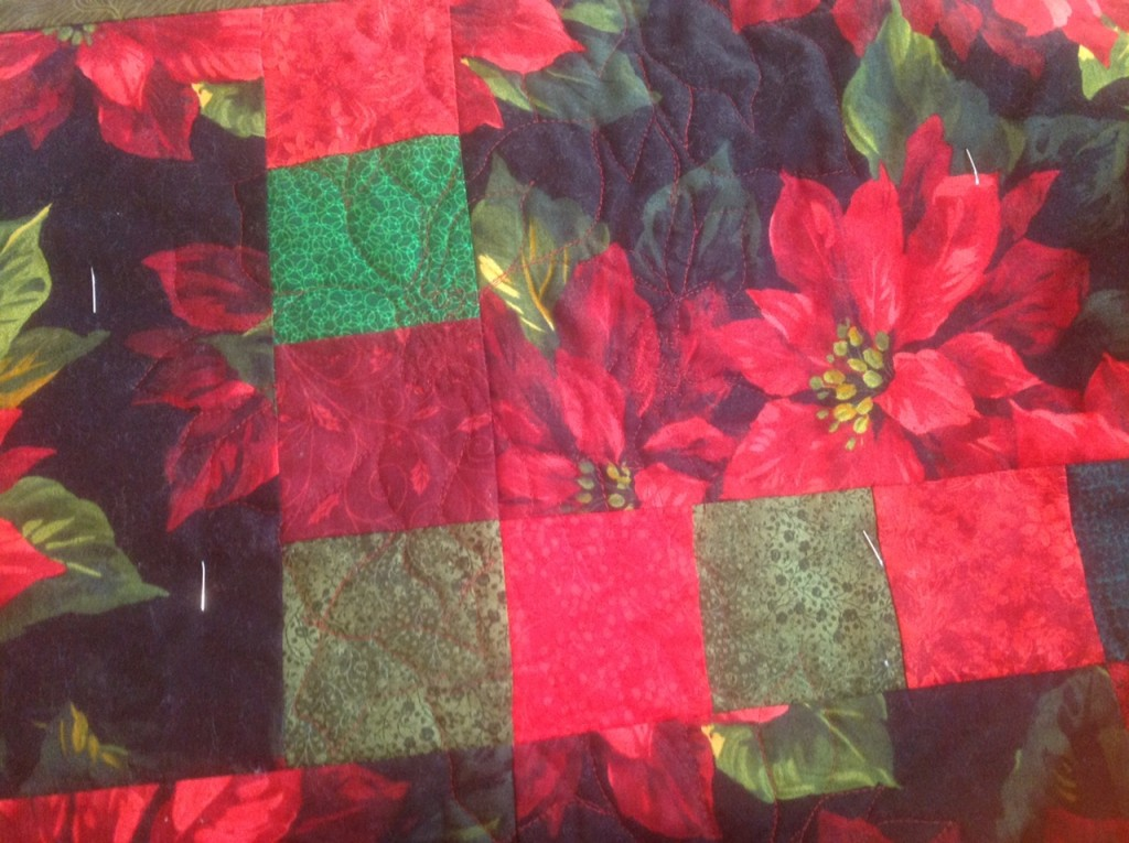 The Salty Quilter - Poinsettia Quilt - Quilting from front