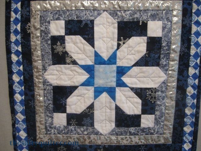 The Salty Quilter - Snowman Door Hanger - Snowflake close-up