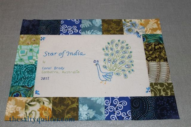 The Salty Quilter - Star of India - Label