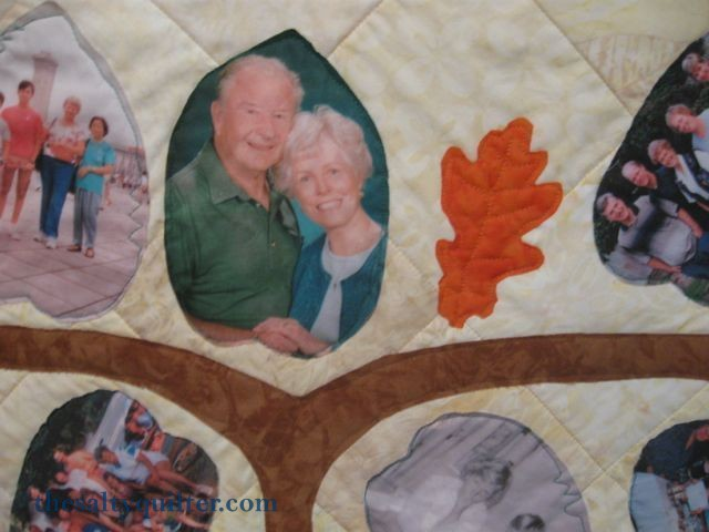 The Salty Quilter - Tree of Life - Picture on the top of the tree with my grandpa and grandma