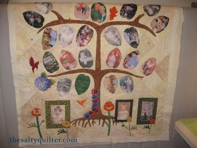The Salty Quilter - Tree of Life - leaves applique in progress