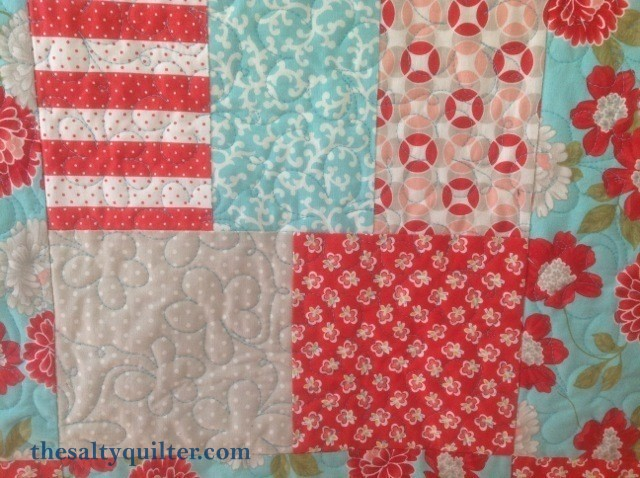 The Salty Quiter - Vintage Modern Blue - Quilting close up