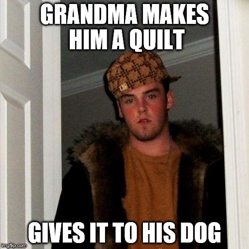 Scumbag Steve - Grandma makes him a quilt, gives it to his dog