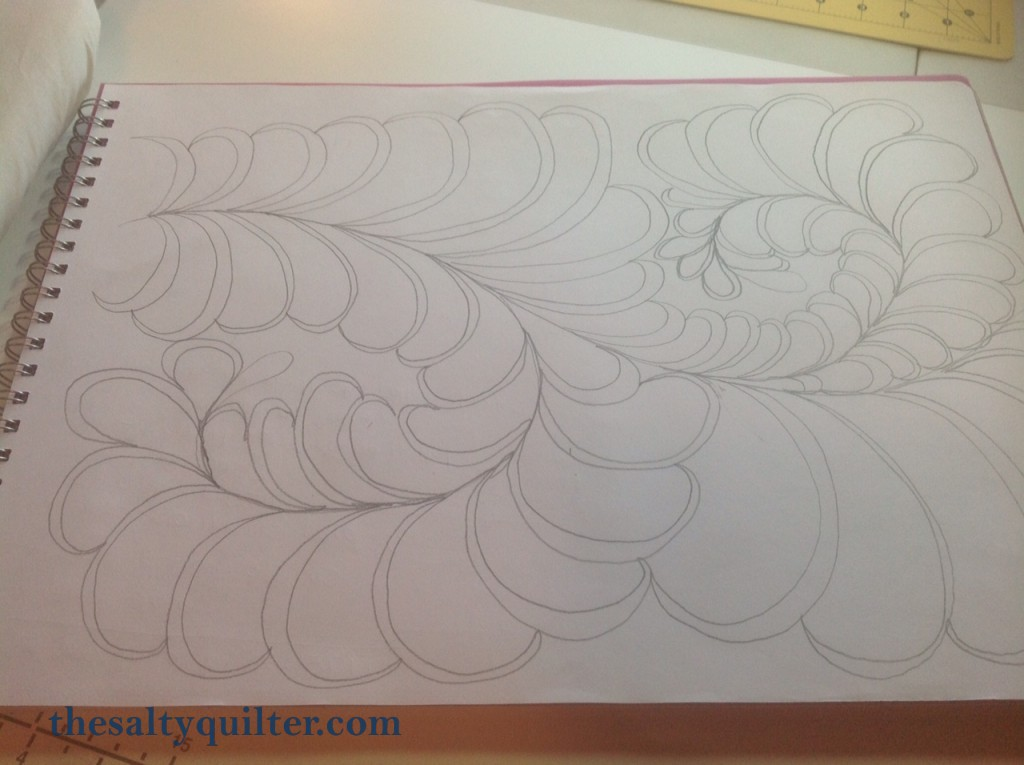 The Salty Quilter - Feather Quilting Gurus - Drawing - Self Echoing Feathers
